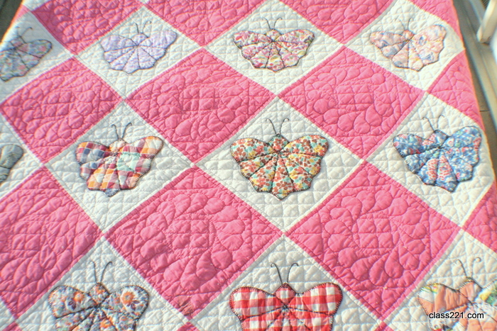 Antique 1930s Butterfly Quilt Hand Pieced And Hand