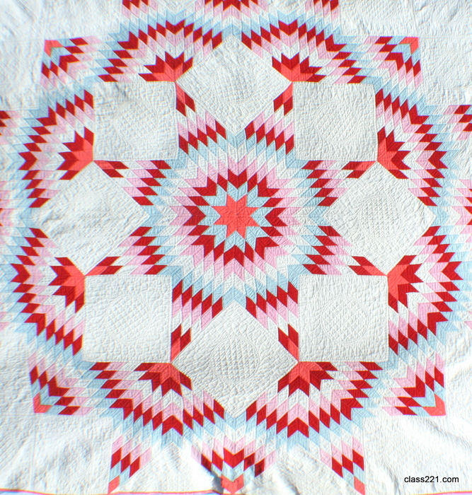 Antique 1930s Broken Star Quilt Hand Quilted At 12 Stitches Per Inch
